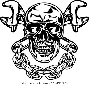 Skull with crossed wrenches and chain