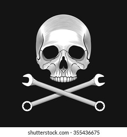 Skull and crossed wrenches on the black background. Car or bike repair shop logo template (concept). Vector illustration.