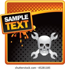 skull and crossed wrenches orange and black halftone grungy ad