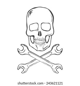 Skull with crossed wrenches vector illustration