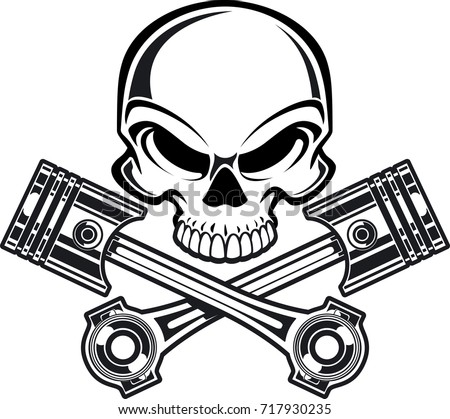 103de5f44f93e Skull Crossing Engine Pistons Stock Vector (Royalty Free) 717930235 ...
