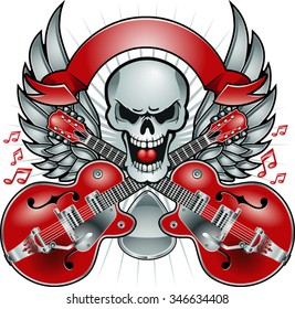 skull with crossing guitars, pick and wings