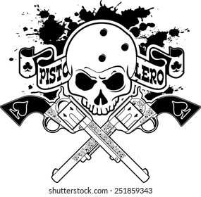 skull with crossing revolvers and banner