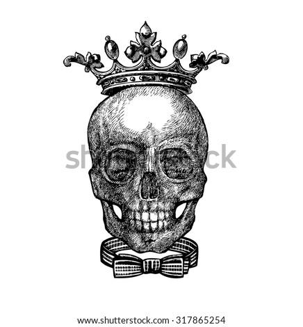 Skull Crown King Dead Skull Tattoo Stockvector Rechtenvrij