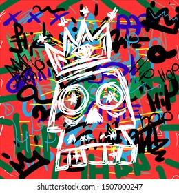 Skull with crown on hip hop background hand drawn. Doodle, sketch, scribble. Urban vector illustration.