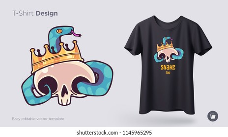 Skull in a crown with a snake t-shirt design. Print for clothes, posters or souvenirs. Vector illustration