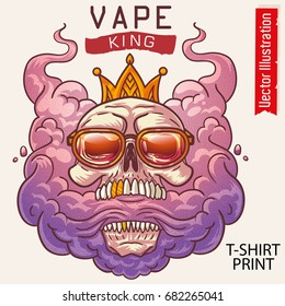 Skull with crown and sunglasses.. E-cigarettes, vape king. Human Skull lets steam from mouth. Hipster vapor. T-shirt print. Street graffiti.Vector illustration on white background.