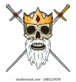 Skull in a crown and two crossed  swords. King's skull