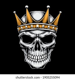 skull with crown vector logo