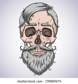 Skull. Curly beard and hair. Silver hair color.