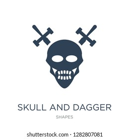 skull and dagger icon vector on white background, skull and dagger trendy filled icons from Shapes collection, skull and dagger vector illustration
