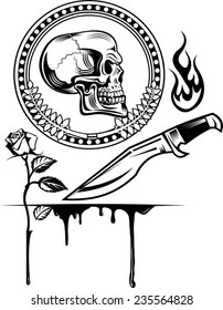 skull dagger knife  and rose