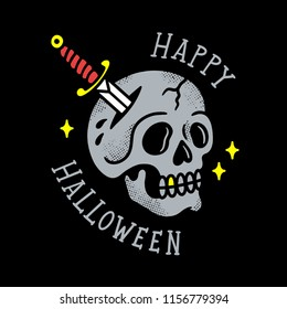 SKULL WITH DAGGER OLD TATTOO HAPPY HALLOWEEN COLOR BLACK BACKGROUND