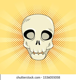 skull dead halloween style pop art vector illustration design