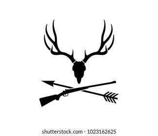 Skull Dear Head with Sniper Gun and Arrow Cross for Hunting Symbol Logo Vector
