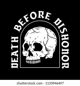 SKULL DEATH BEFORE DISHONOR BLACK BACKGROUND