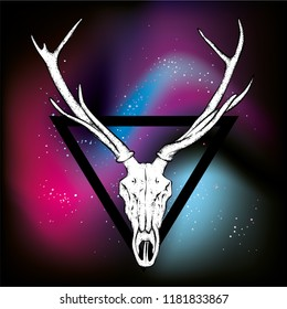 Skull of a deer and horns. Vector illustration for a postcard or poster, tattoo or print on clothes. Vintage and retro, tribe. Space and stars.
