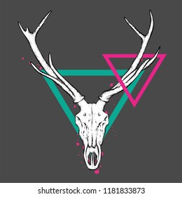 Skull of a deer and horns. Vector illustration for a postcard or poster, tattoo or print on clothes. Vintage and retro, tribe.