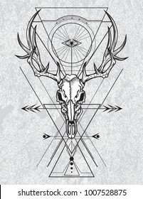 Skull of the deer in ink graphic technique. Vector illustration of deer skull with sacred geometry shapes on grunge background.