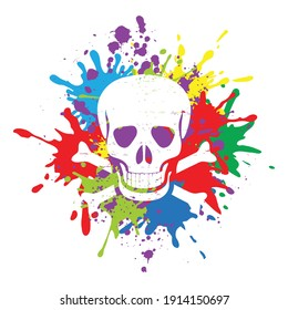 Skull design with colorful splashes