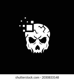 skull design logo inspiration and technology digital logo. Skull vector logo template
