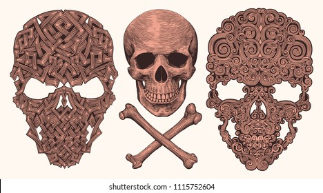 Skull. Design set. Hand drawn engraving. Editable vector vintage illustration. Isolated on white background. 8 EPS