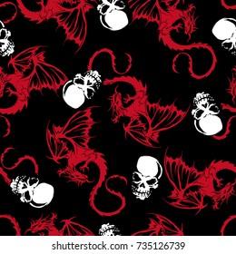 skull and dragon pattern,
