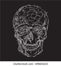 Skull drawing  illustration, tee shirt graphics, vectors
