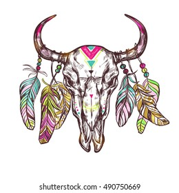 31856d16626 Skull drawn flowers boho with colored elements and feathers on the horns  vector illustration