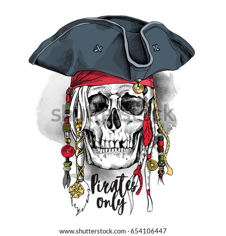 ca4e058ebd3 Skull with Dreadlocks and accessories in a Pirate hat. Vector illustration.