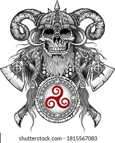 Skull emblem with axes and shield