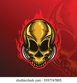 skull e-sport logo fire gamer