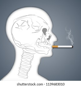 Skull in Face human smoking are harmful to lung health as unhealthy , air pollution, craft style and paper art concept. vector illustration