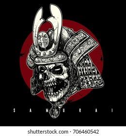 a skull face with samurai helmet.