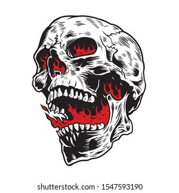Skull in Fire Design for t-shirts, stickers and more.