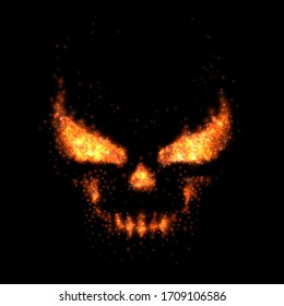 Skull fire realistic flame particles, vector illustration.