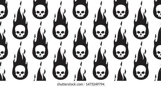 skull fire seamless pattern Halloween vector symbol bone ghost scarf isolated tile background pirate repeat wallpaper cartoon doodle illustration design