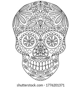 skull with floral folk style ornaments drawn on a white background for coloring, vector, day of the dead