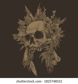 Skull with floral ornament. Halloween concept. Dark tattoo