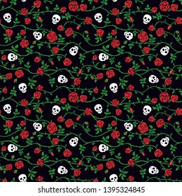 Skull floral seamless pattern with red climbing curly rose and thorn. Fabric dark flower background, vector. Gothic, Day of Dead or halloween holiday. Dia de muertos texture. Cute funny death's head