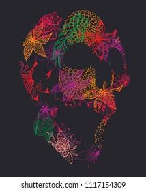skull flower graphic design vector art
