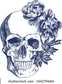 Skull with flowers. Blue on a white background. Typographic graphic print, trendy pattern for t-shirts.