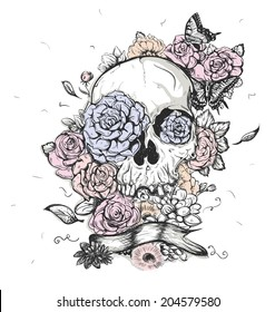 Skull and flowers butterflies vector illustration Day of the Dead