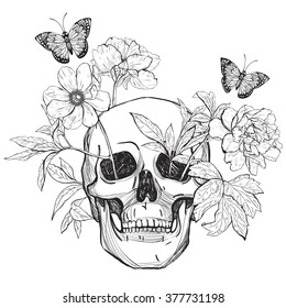 85064a3ce Skull, flowers and butterfly. Tattoo art, coloring books. Hand drawn  vintage vector