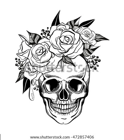 Skull Flowers Coloring Page Vector Illustration Stock Vector