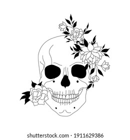 Skull and flowers hand drawn illustration. Floral tattoo vintage print. Abstract drawing of skull and peonies with leaves, minimalist art