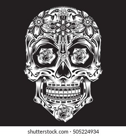 Skull flowers illustration, typography, t-shirt graphics, vectors