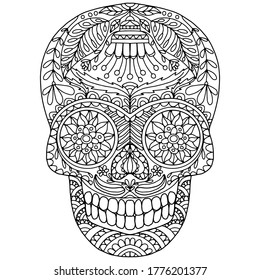 skull with flowers and leaves in folk style drawn on a white background for coloring, vector, day of the dead