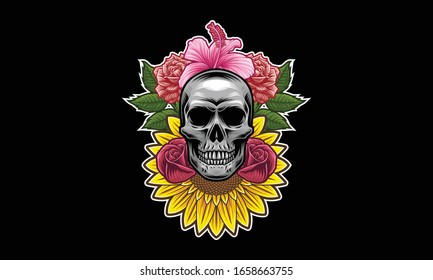 Skull with flowers and leaves vector illustration isolated on black background