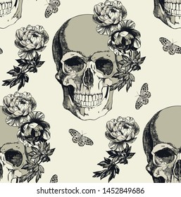 Skull with flowers on the dairy background. Typographic graphic print, trendy pattern for fabric, wrapping, wallpaper.